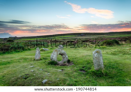 Men an Tol ancient standing stones near Penzance in Cornwall