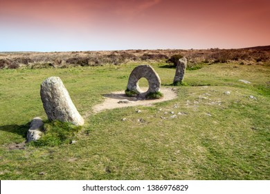 The Men an Tol, Holed Stone, Ancient Site, near Morvah, Cornwall UK