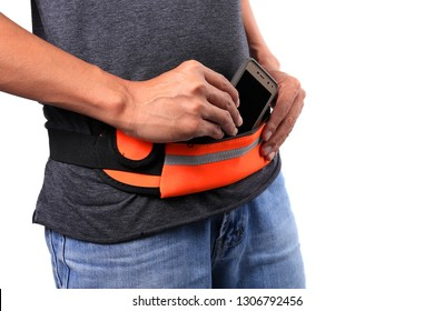 Men use the waist bag for smartphone isolated on white background. Used for entering smartphones when exercising, such as walking, running etc.