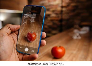 Men using artificial intelligence on smart phone with augmented reality application for recognizing food