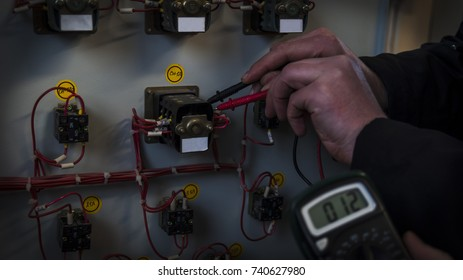 Men using a tester check equipment