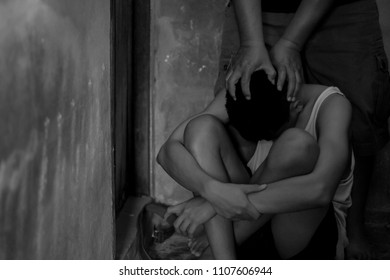 Men are violent to children in the corner,The concept of violent offenses against children and women.