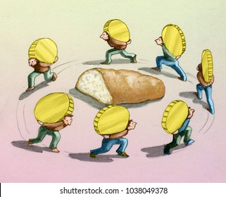 men walking in a circle around a loaf of bread carrying huge heavy coins