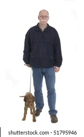 Men walking with dog isolated on white