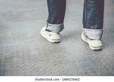 Men walking forward in vintage style