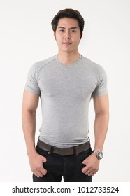 Men wear gray t-shirts on white background.