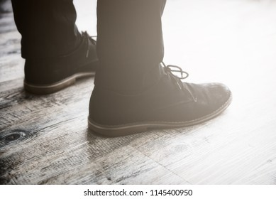 Men wear leather shoes. Is leaving travel