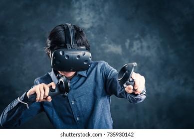 Men wearing goggles, virtual reality
