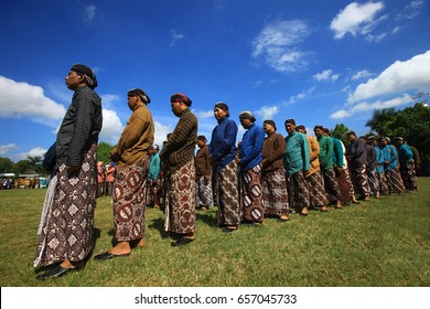 Men are wearing Javanese Clothes Beskap and Blangko during ceremony of Wonosari District Anniversary in 27th May 2014