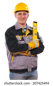 men wearing working clothes holding construction level isolated