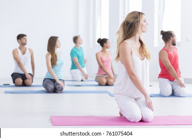 Men and women doing yoga exercises by looking to their left, while sitting on their knees in vajrasana pose