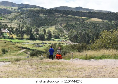 A men and a women enjoying beautiful scenery on valley in Peru