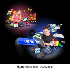 A men and a women are sitting on a black background and holding a laptop and smart phone with technology icons around them.