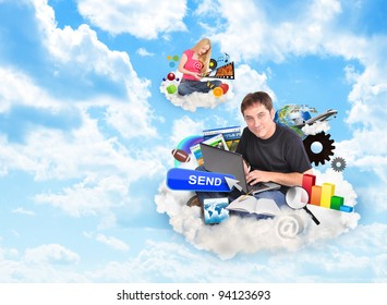 A men and a women are sitting on clouds and holding a laptop and smart phone with technology icons around them.