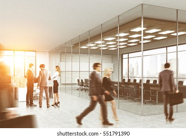 Men and women walking in a glass office. The sun is shining. Concept of office life. 3d rendering. Toned image. Mock up