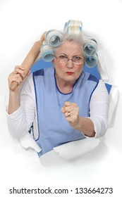 A menacing old lady