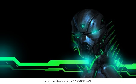 A menacing robot with green glowing neon lights on the background