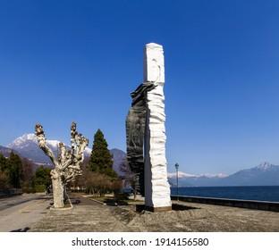 Menaggio, Italy - March 4, 2018: Monument of modern art on the lake promenade
