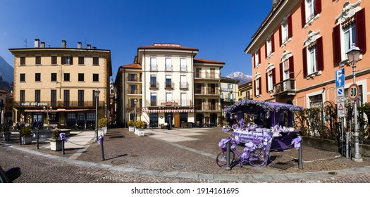 Menaggio, Italy - March 4, 2018: Purple bicycle near lavender products store