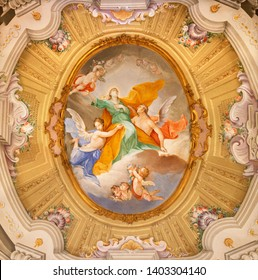 MENAGGIO, ITALY - MAY 8, 2015: The neobaroque fresco of Assumption of Virgin Mary in church Chiesa di Santa Marta.