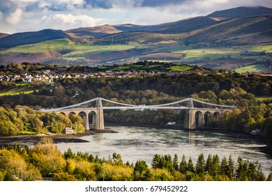 The Menai Bridge connecting Anglesey with the mainland in north Wales