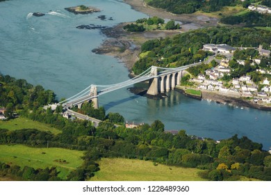 The Menai Suspension Bridge  and Anglesey from the air