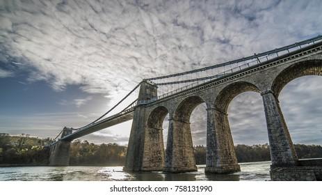 Menai Suspension Bridge in Anglesey North Wales