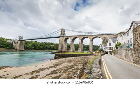 Menai Suspension Bridge between Anglesey and mainland of North Wales, UK. The bridge, opened in 1826, is known as the first modern suspension bridge in the world.