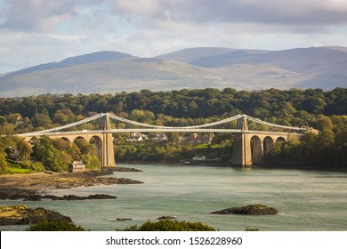 The Menai suspension bridge designed by Thomas Telford and completed in 1826 to connect the mainland with the island of Anglesey Wales