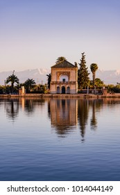 Menara Gardens Pavilion reflect in water at sunset,Morocco.