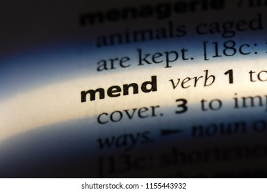 mend word in a dictionary. mend concept.