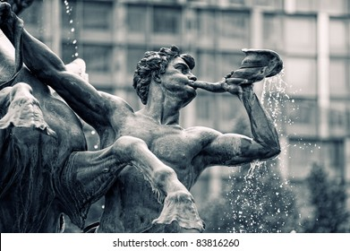 Mendebrunnen. Fountain in Leipzig,Germany