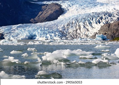 Mendenhall Glacier in Alaska, USA (manual focus on the floating ice blocks in the foreground)