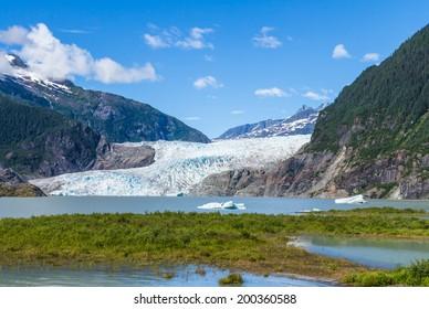 Mendenhall Glacier and Lake in Juneau, Alaska, USA in summer