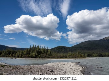 Mendenhall Lake near Juneau in Southeast Alaska in summer with dramatic clouds.