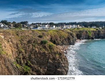 Mendocino, CA, March 8, 2020. View of town from the Mencocino Headlands State Park, USA, on a blue sky day with some clouds.