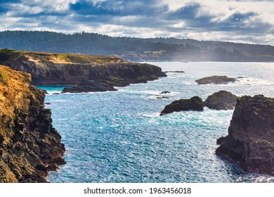 Mendocino, United States - February 16 2020: a majestic view of the bay cliffs and inlets of Mendocino and his rocks