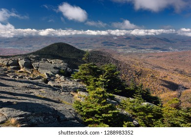 Mendon Peak in Coolidge State Forest and Rutland Vermont from Killington Mountain Resort in Fall