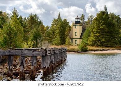 The Mendota Lighthouse, or Bete Grise light,  Keweenaw Peninsula.  Lake Superior at Lac La Belle, Michigan