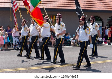 MENDOTA, MN/USA – JULY 14, 2018: Osman Shriners Legion of Honor marches at Mendota Days Parade.