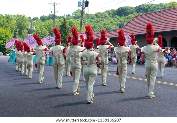 MENDOTA, MN/USA – JULY 14, 2018: Sibley High School marching band performs at annual Mendota Days Parade.