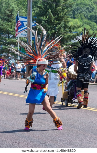 MENDOTA, MN/USA – JULY 14, 2018: Mexican dancer performing in street at annual Mendota Days Parade.
