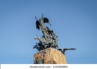 Mendoza, Argentina - Apr 19, 2018: Army of the Andes Monument (Monumento al Ejercito de Los Andes) in Cerro de la Gloria at General San Martin Park - Mendoza, Argentina