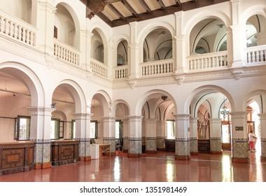 MENDOZA, ARGENTINA - FEB 15, 2018: inside Banco Hipotecario Nacional, Ministerio de Cultura de Mendoza - former National Mortage Bank.