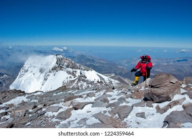 Mendoza / Argentina - Feb 2012: Russian climbers on the top of Aconcagua Mountain, Horcones Valley, Aconcagua Provincial Park, Central Andes, Mendoza Province.