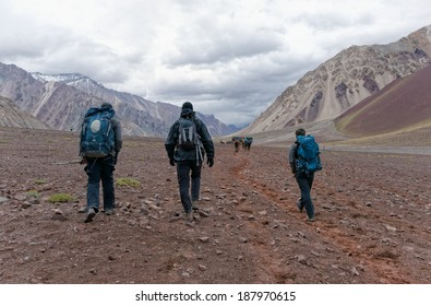MENDOZA, ARGENTINA - JAN 18: Unidentified climbers returning from Plaza de Mulas. This year 5400 people faced the mountain intend to get the summit. Jan 18, 2014 in Aconcagua Mount, Mendoza, Argentina