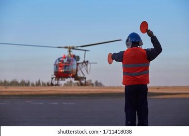 MENDOZA, ARGENTINA, June 10, 2015. helicopter Aérospatiale SA315B Lama, rescue display maneuver, IV Brigada Aérea, Las Heras.