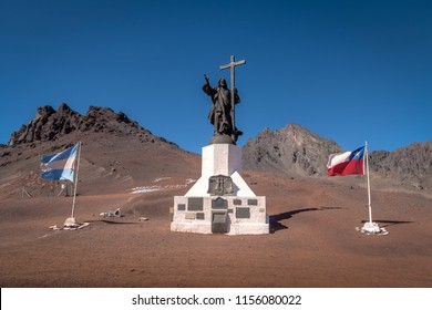 Mendoza Province, Argentina Apr 20, 2018: Cristo Redentor de Los Andes (Christ the Redeemer of the Andes) Monument on border of Chile and Argentina at Cordillera de Los Andes
