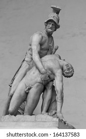 Menelaus supporting the body of Patroclus in the Loggia dei Lanzi, Florence, Italy Originally an ancient Roman sculpture, restored in the Middle Ages.