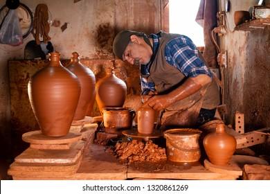 Menemen / Izmir / Turkey, October 20, 2018, Menemen, Izmir Pottery masters working in traditional pottery workshop